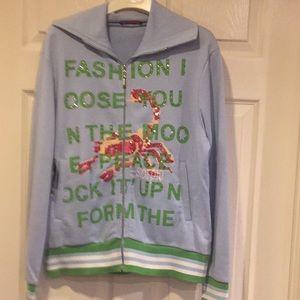 blue front zipper sweater
